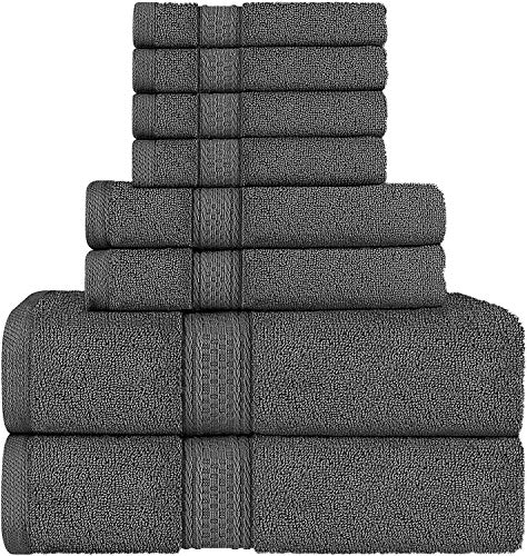 Utopia Towels Towel Set, 2 Bath Towels, 2 Hand Towels, and 4 Washcloths, 600 GSM Ring Spun Cotton Highly Absorbent Towels for Bathroom, Shower Towel, (Pack of 8)