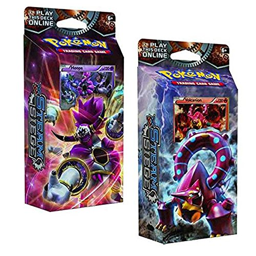 Both Pokemon XY Steam Siege 60-Card Theme Decks - Gears of Fire & Ring of Lightning!