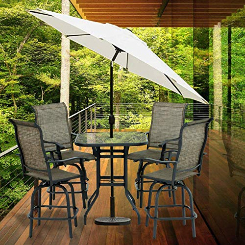 Aoxun Patio 5 PC Swivel Bar Sets Textilene High Bistro Sets, 4 Bar Stools and 1 Table, Brown