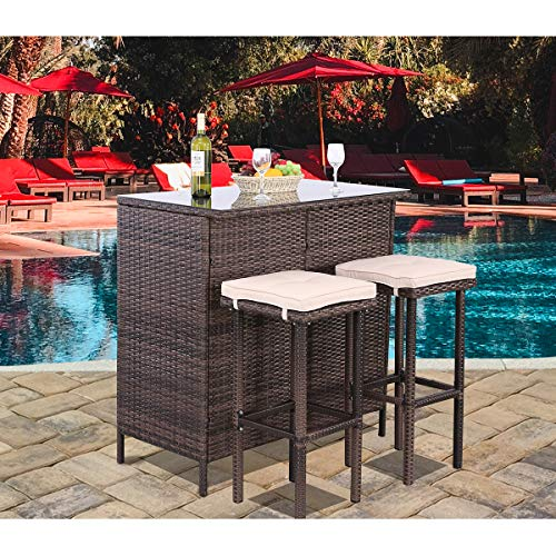 Polar Aurora 3PCS Patio Bar Set with Stools and Glass Top Table Patio Wicker Outdoor Furniture with Beige Removable Cushions for Backyards, Porches, Gardens or Poolside