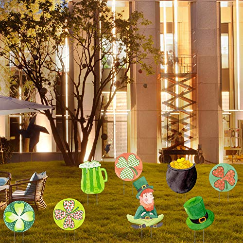 Emopeak St. Patrick's Day Yard Signs Shamrock Decorations Saint Patrick Clover Outdoor Lawn Yard Signs Decorations with Stakes for Irish Holiday Decor