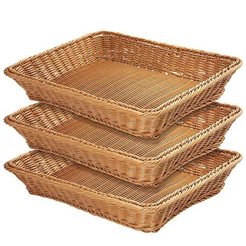 17.7' Poly-Wicker Bread Basket,Woven Tabletop Food Fruit Vegetables Serving Basket, Restaurant Serving,Brown (3 PACKS)
