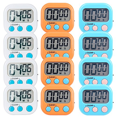 12 Pack Small Digital Kitchen Timer Magnetic Back And ON/OFF Switch,Minute Second Count Up CountdownWhite,Blue,Orange