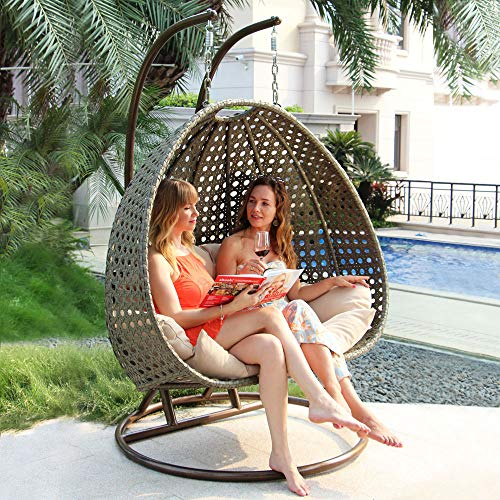 Island Gale Luxury 2 Person Outdoor, Patio, Hanging Wicker Swing Chair ((2 Person) X-Large, Latte Rattan/Latte Cushion)