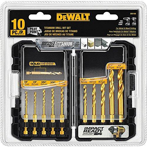 DEWALT Titanium Drill Bit Set, 10-Piece Impact Ready (DD5160)