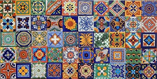 Color y Tradicion 50 Hand Painted Talavera Mexican Tiles 4x4 Spanish Mediterranean
