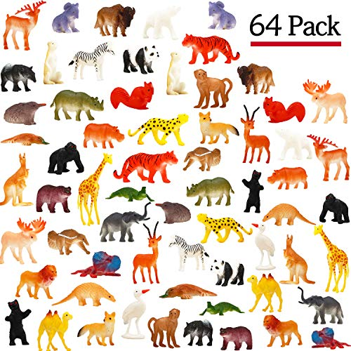 Funcorn Toys Animal Toy, 64 Pack Mini Wild Plastic Animals Models Toys Kit, Jungle Realistic Animal Figure Set for Children Kids Boy Girl Party Favors Educational Toy Birthday Game Classrooms Rewards