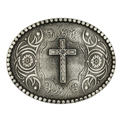 Montana Silversmiths Christian Faith Series Attitude Western Belt Buckle (Floral Cross - Antiqued Silver)