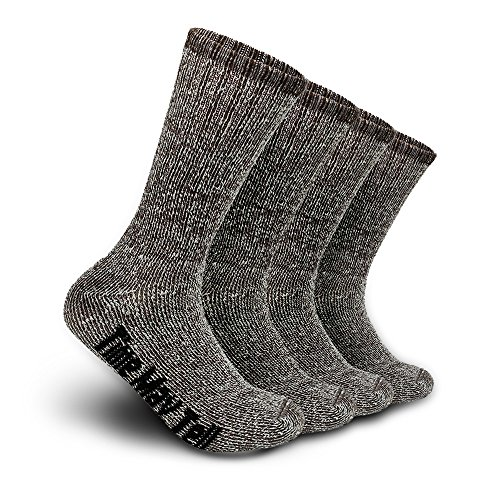 Time May Tell Mens Merino Wool Hiking Cushion Socks Pack (Brown(2 pairs), US Size 9.5~13)