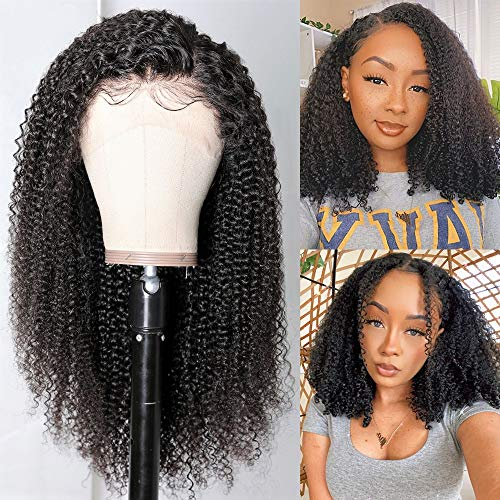 Sailk Hair 13x6 Lace Front Wigs Kinky Curly Wigs Human Hair Wigs Short Bob Natural Hairline Brazilian Remy Hair With Baby Hair For Black Women(14 inch with 150% density)