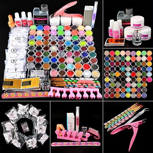 Fashion Zone Acrylic Nail kit with 3pcs Acrylic Powder,120ml Acrylic Liquid,Glitter Mini-ball Velvet Powder, Nail Art Design Kit