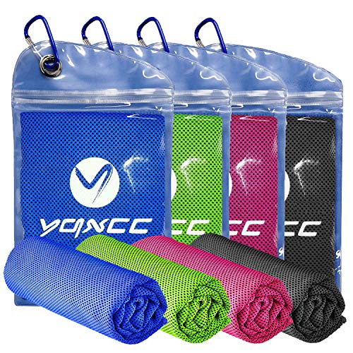 YQXCC Cooling Towel 4 Packs (47'x12') Microfiber Towel Yoga Towel for Men or Women Ice Cold Towels for Yoga Gym Travel Camping Golf Football & Outdoor Sports (Dark Blue/Dark Gray/Rose Red/Green)
