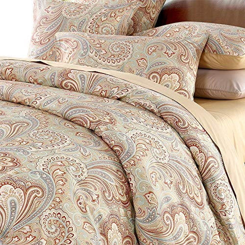 Duvet Cover Set Paisley Bedding Design 800 Thread Count 100% Cotton 3Pcs,Queen Size,Khaki