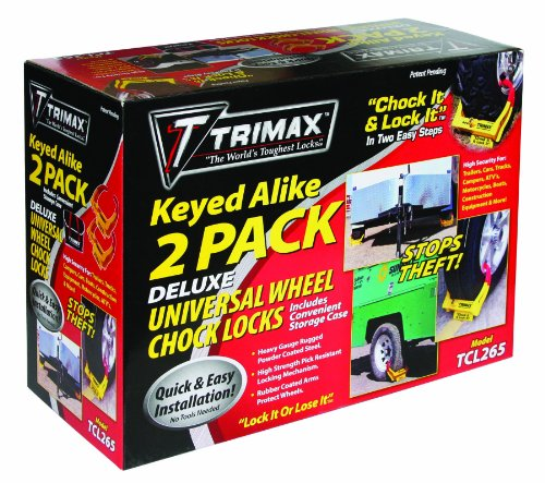 Trimax Deluxe Wheel Chock Lock Keyed Alike 2 Pack-of Tcl65 Includes Carrying Case TCL265, Box Packaging