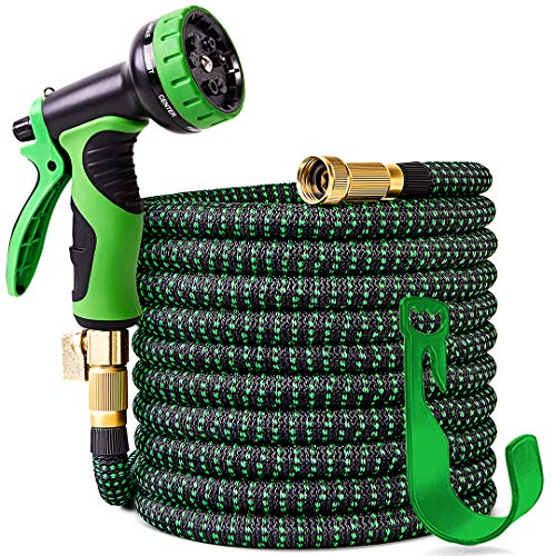 100 ft Expandable Garden Hose,Upgraded Leakproof Lightweight Garden Water Hose with 3/4' Solid Brass Fittings,Extra Strength 3750D Durable Gardening Flexible Hose,Expanding Garden Hoses Spray Nozzle …