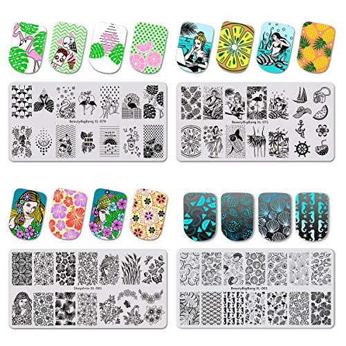 CINPIUK 4 Set Tropical Nail Stamping Plates Summer Theme Nail Art Templates DIY Nail Manicure Decals