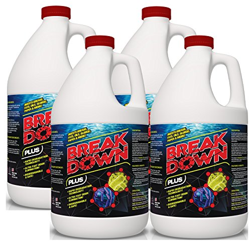 Concentrated Liquid Bacterial ENZYMES - Breaks Down Grease, Paper,Fat & Oil in Drain Lines, Sewer Lines, Septic Tanks, Grease Traps, RV & Boat Tanks & More! Controls Foul Sewer Odors! (4 Gallon CASE)