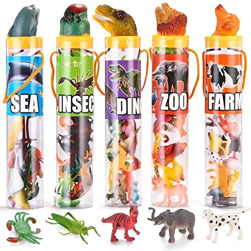JOYIN 69 Pieces Natural World Animal Dinosaur Insect Sea Animal Farm Animal Figures Stocking Stuffer Mini Plastic Vinyl Assorted Figures Playset