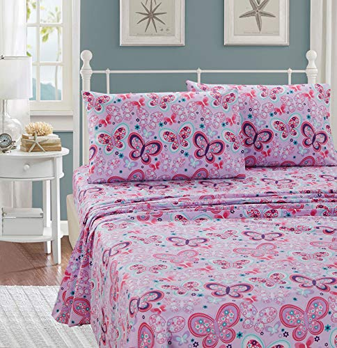 Better Home Style Pink Purple Lavender and Turquoise Blue Girls/Kids/Teens Sheet Set with Butterflies Flowers Floral with Pillowcases Flat and Fitted Sheets # Lavender Butterfly (Twin)