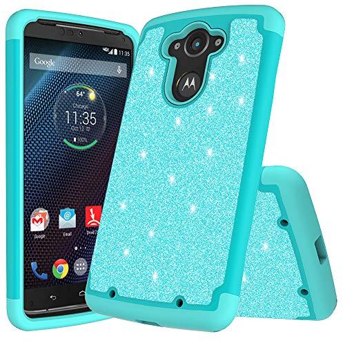 for 5.2' Motorola moto DROID TURBO 1st GEN Case Phone Case Glitter Shock proof Edge Scratch Shield Hybrid Layers Bumper Slim Cover (Rose)