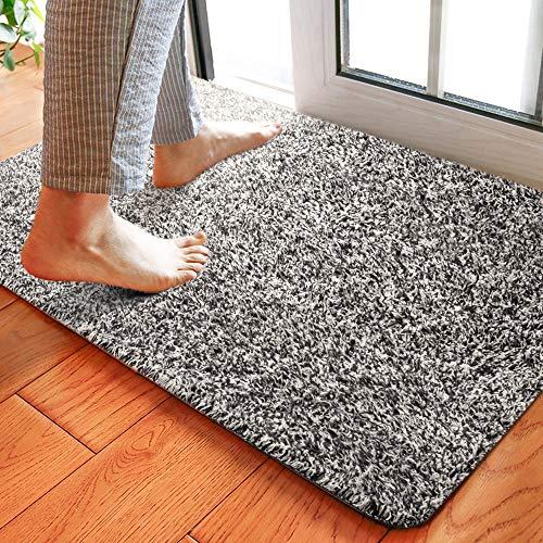 Delxo 18'x30' Magic Doormat Absorbs Mud Doormat No Odor Durable Anti-Slip Rubber Back Low-Profile Entrance Door Mat Large Cotton Shoe Scraper Pet Mat Machine Washable (Grey)
