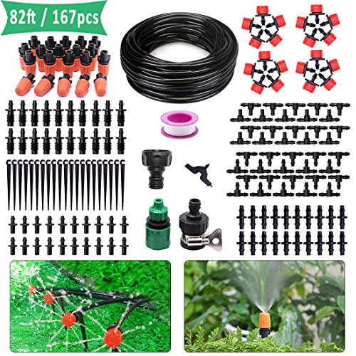 Drip Irrigation Kit 82ft/25m Micro Automatic Irrigation System for Garden Flower Beds DIY Adjustable Watering Drip Irrigation Set 1/4-inch Blank Distribution Plant Tubing Hose 2 Sprinkler Types