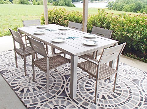 Pebble Lane Living All Weather Rust Proof Indoor/Outdoor 7 Piece Cast Aluminum Patio Dining Set, 1 Slat Top Dining Table & 6 Rattan Wicker Dining Chairs, Wood/Grey
