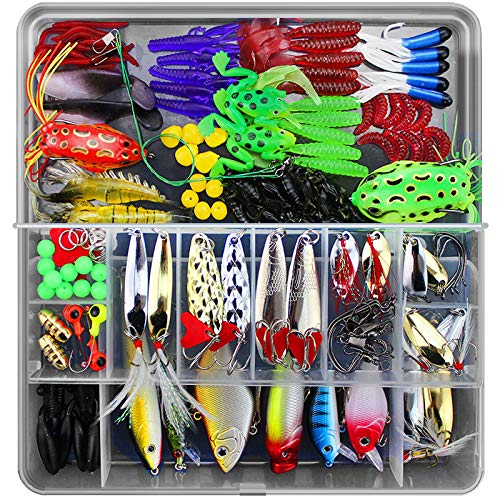 Aneew 141pcs Fishing Tackle Kit Box Set Accessories Lures Crankbait Hard Baits Soft Maggot Rigs Jigs Full Swimming Layer Treble Hooks Bass for Topwater Freshwater Saltwater