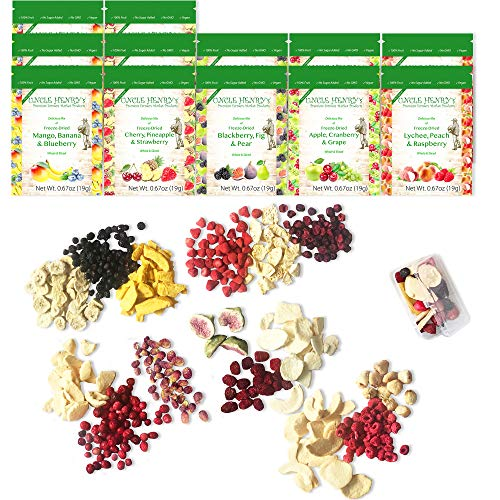 Freeze Dried Fruit: 15 Delicious Fruits Strawberry, Blueberry, Raspberry & More. 8oz 1/2 Pound, 12 Large Bags (0.67oz) the Ultimate Snack Box. Original Green Top Quality (15 Different Fruits, 226.8g)