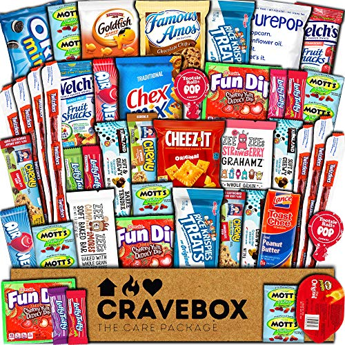 CraveBox Care Package (45 Count) Snacks Food Cookies Granola Bar Chips Candy Ultimate Variety Gift Box Pack Assortment Basket Bundle Mix Bulk Sampler Treats College Students Final Exam Office Summer