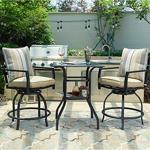 PatioFestival 3 Pcs Outdoor Height Bistro Chairs Set Patio Swivel Bar Stools with 2 Yard Armrest Chairs and 1 Glass Top Table,All Weather Steel Frame Furniture (Chairs&Table Set)