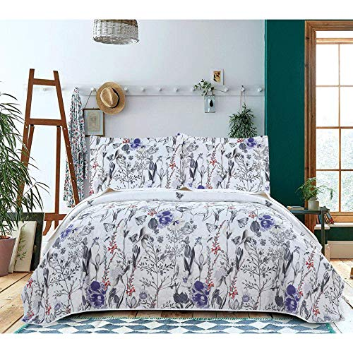 Ultra Thin Floral Coverlet King,Lightweight Summer Quilts Multicolor Butterfly Tulip Floral Bedspread Blanket Bed Cover Set Microfiber Bedroom Decor(1 Quilt+2 Pillow Shams),Random Patterns