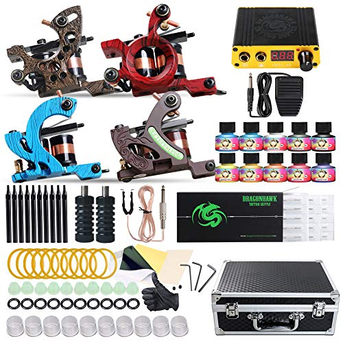 Dragonhawk Complete Tattoo Kit 4 Standard Tunings Tattoo Machines Power Supply 10 Color Immortal Tattoo Inks 50 Needles Tips Grips with Case D139GD