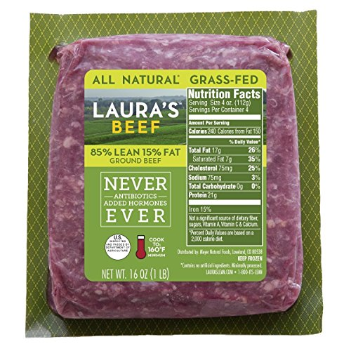 Laura's Lean 85% Grass Fed Ground Beef - 1lb bricks - 8 per case, no added hormones or antibiotics ever, humanely handled, frozen, bulk pack, all natural