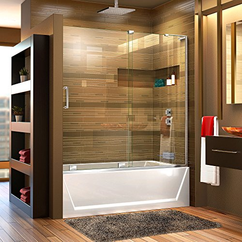 DreamLine Mirage-X 56-60 in. W x 58 in. H Frameless Sliding Tub Door in Chrome; Right Wall Installation, SHDR-1960580R-01