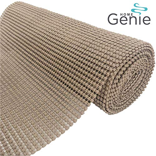 HOME GENIE Original PVC Drawer and Shelf Liner, Non Adhesive Roll, 12 Inch x 20 FT, Durable and Strong, Grip Liners for Drawers, Shelves, Cabinets, Pantry, Storage, Kitchen and Desks, Light Taupe