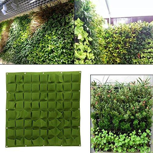 Yinuoday 72 Pocket Vertical Wall Garden Planter,Wall Hanging Planting Bags for Garden Indoor Outdoor (Green)