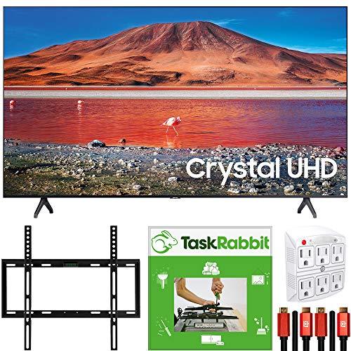 Samsung UN65TU7000 65-inch 4K Ultra HD Smart LED TV (2020 Model) 360 Design Bundle with TaskRabbit Installation Services + Deco Gear Wall Mount + HDMI Cables + Surge Adapter