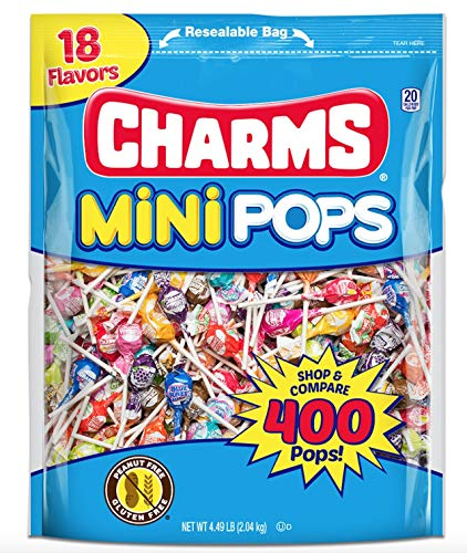 Tootsie Roll Charms Mini Pops 18 AssortedLollipopFlavors with ResealableBag (400 Count)Peanut Free, Gluten Free