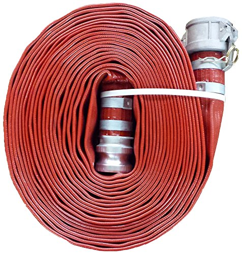 JGB Enterprises A008-0241-0100 Eagle Red PVC Discharge Hose, 1-1/2' x 100', Type C and E Cam Locks, Double Banded, 150 psi Working Pressure, -14 Degree F to 170 Degree F