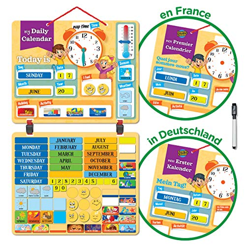 Kids Daily Calendar Magnetic,Hang on Wall or Fridge for Home or School.