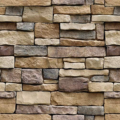 Yancorp Stone Wallpaper Rock Self-Adhesive Paper Peel and Stick Backsplash Wall Panel Removable Home Decoration (18'x120')