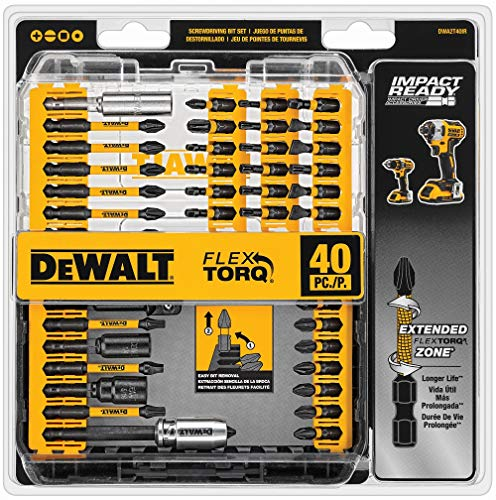 DEWALT Screwdriver Bit Set, Impact Ready, FlexTorq, 40-Piece (DWA2T40IR),Black/Silver IMPACT READY FlexTorq Screw Driving Set, 40-Piece