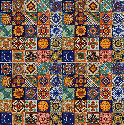 Color y Tradicion 100 Hand Painted Talavera Mexican Tiles 2'x2' Spanish Mediterranean Decor